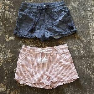 Bundle of Faux Denim and Pink Stripe Flowy Shorts
